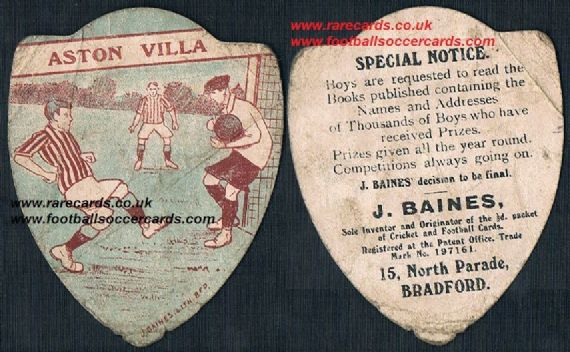 1900s Aston Villa claret blue Baines card with 3 players
